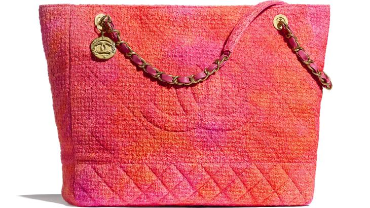 image 1 - ラージ ショッピング バッグ - ベルベット ツイード - コーラル、ピンク & オレンジ