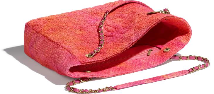 image 3 - ラージ ショッピング バッグ - ベルベット ツイード - コーラル、ピンク & オレンジ