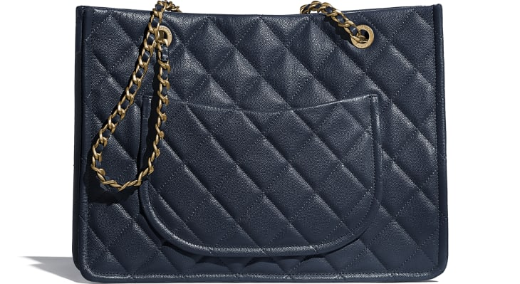 image 2 - Large Tote - Grained Calfskin & Gold-Tone Metal - Navy Blue