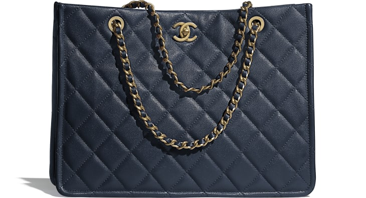 image 1 - Large Tote - Grained Calfskin & Gold-Tone Metal - Navy Blue