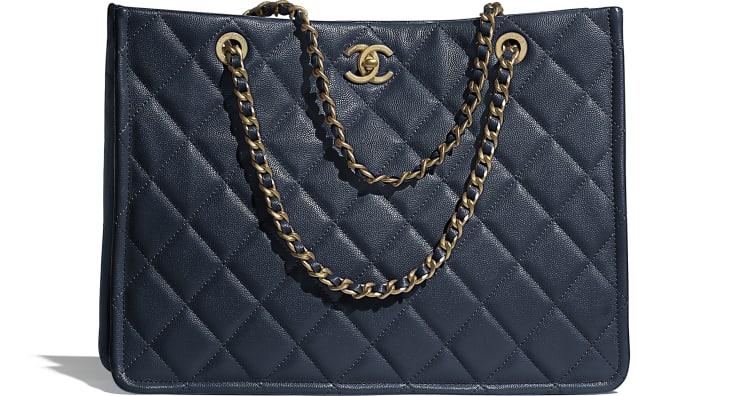 image 1 - Large Shopping Bag - Grained Calfskin & Gold-Tone Metal - Navy Blue