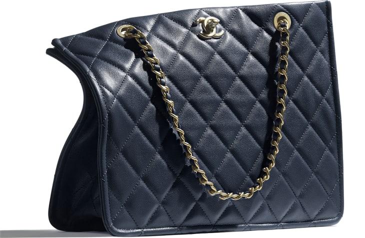image 4 - Large Shopping Bag - Grained Calfskin & Gold-Tone Metal - Navy Blue
