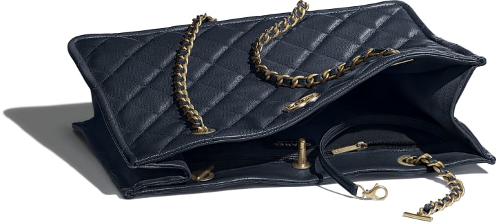 image 3 - Large Shopping Bag - Grained Calfskin & Gold-Tone Metal - Navy Blue