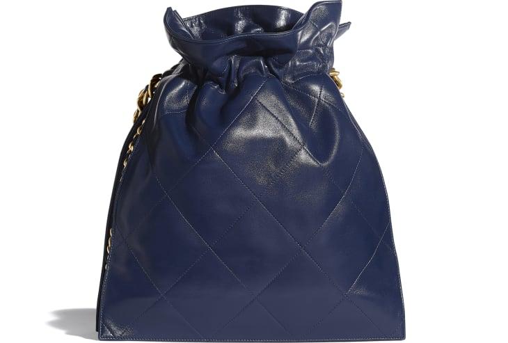 image 2 - 라지 쇼핑백 - 램스킨, 골드 메탈 - 네이비 블루