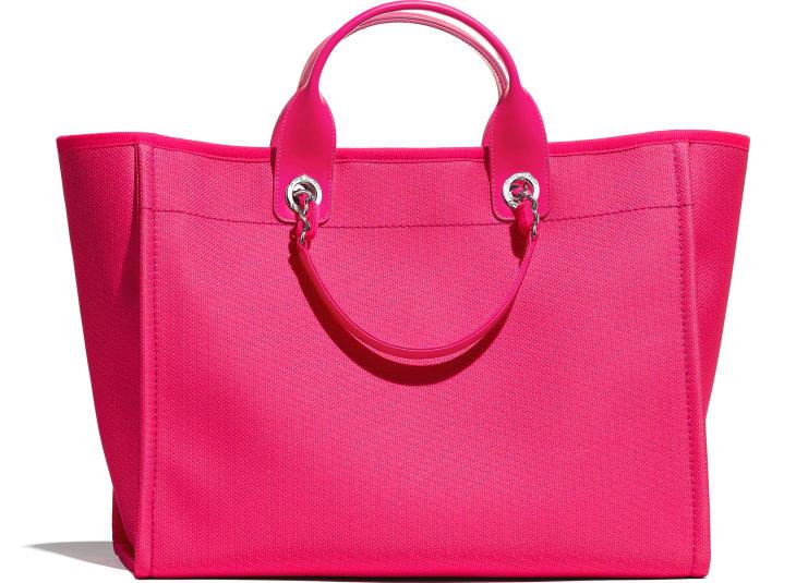 image 2 - Large Shopping Bag - Mixed Fibers & Silver-Tone Metal - Pink & Orange
