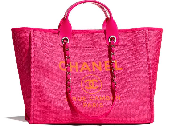 image 1 - Large Shopping Bag - Mixed Fibers & Silver-Tone Metal - Pink & Orange