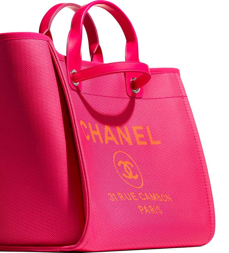 image 4 - Large Shopping Bag - Mixed Fibers & Silver-Tone Metal - Pink & Orange