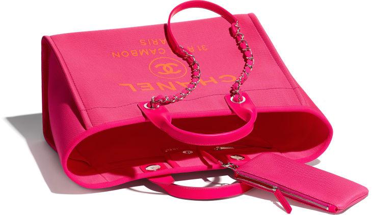 image 3 - Large Shopping Bag - Mixed Fibers & Silver-Tone Metal - Pink & Orange