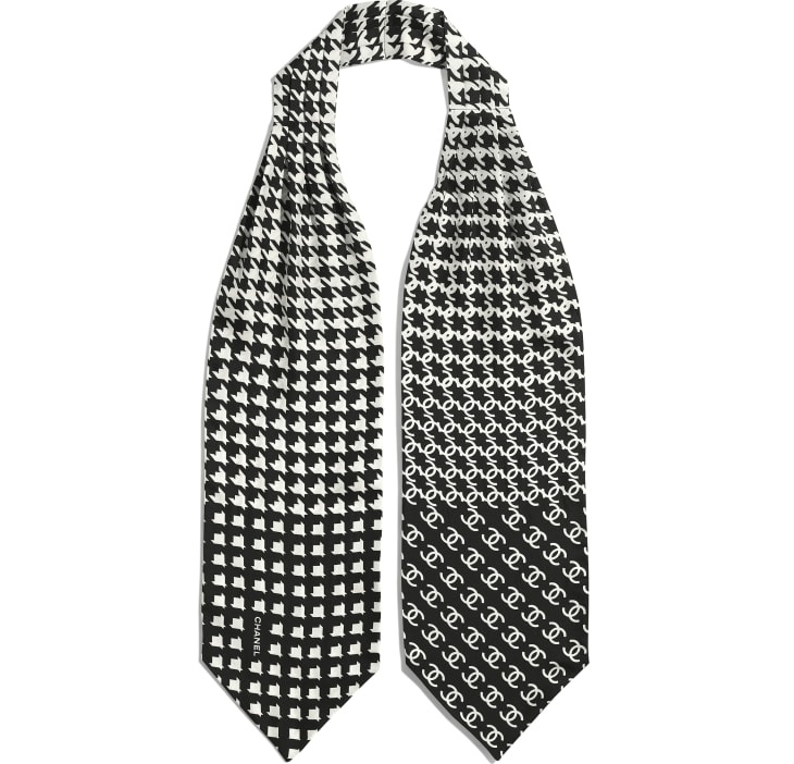 image 2 - Lavallière - Twill de soie - Noir & blanc