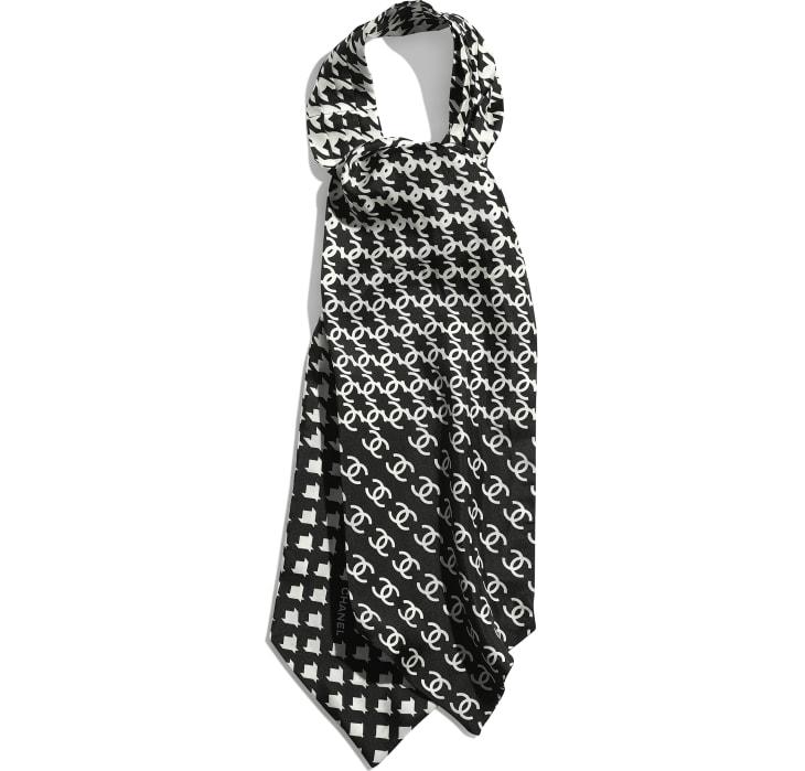 image 1 - Lavallière - Twill de soie - Noir & blanc