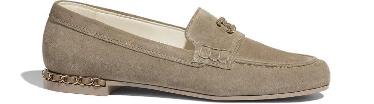 image 1 - Loafers - Suede Calfskin - Dark Beige