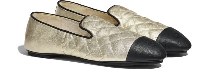 image 2 - Loafers - Laminated Lambskin & Lambskin - Gold & Black