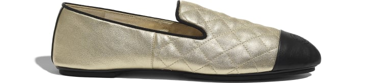 image 1 - Loafers - Laminated Lambskin & Lambskin - Gold & Black