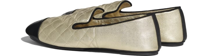 image 3 - Loafers - Laminated Lambskin & Lambskin - Gold & Black