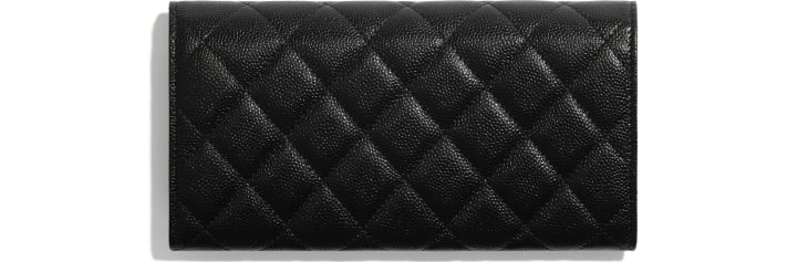 image 2 - Long Flap Wallet - Shiny Grained Calfskin, Gold-Tone & Lacquered Metal  - Black
