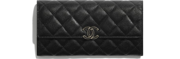 image 1 - Long Flap Wallet - Shiny Grained Calfskin, Gold-Tone & Lacquered Metal  - Black
