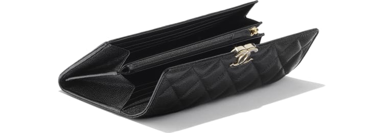 image 4 - Long Flap Wallet - Shiny Grained Calfskin, Gold-Tone & Lacquered Metal  - Black