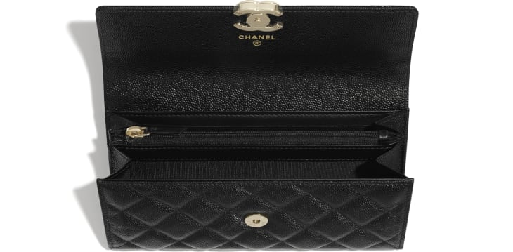 image 3 - Long Flap Wallet - Shiny Grained Calfskin, Gold-Tone & Lacquered Metal  - Black