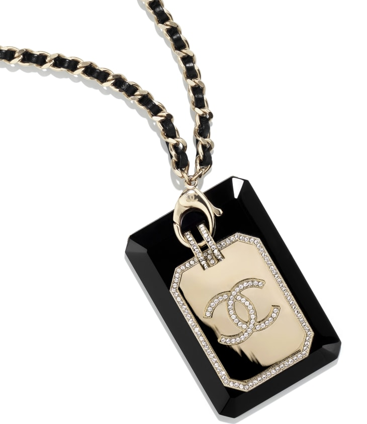 image 3 - ネックレス - メタル、レジン、ラムスキン & ストラス - ゴールド