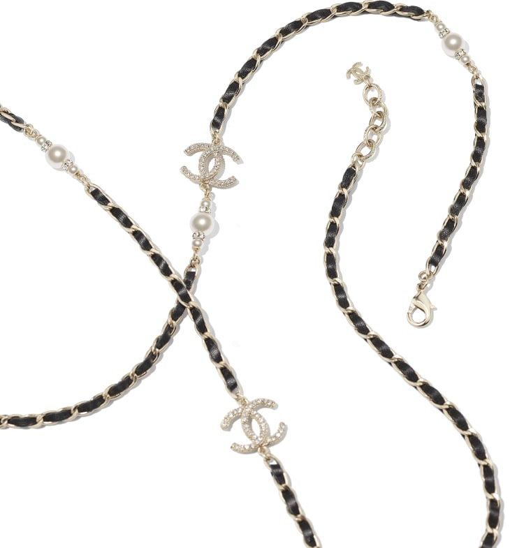 image 2 - Long Necklace - Metal, Calfskin, Glass Pearls & Strass - Gold, Black, Pearly White & Crystal