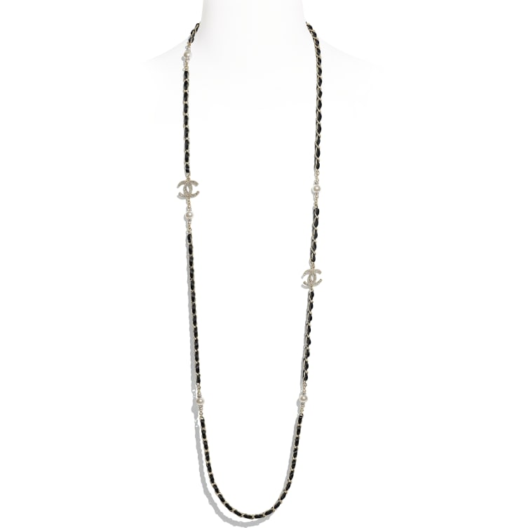 image 1 - Long Necklace - Metal, Calfskin, Glass Pearls & Strass - Gold, Black, Pearly White & Crystal