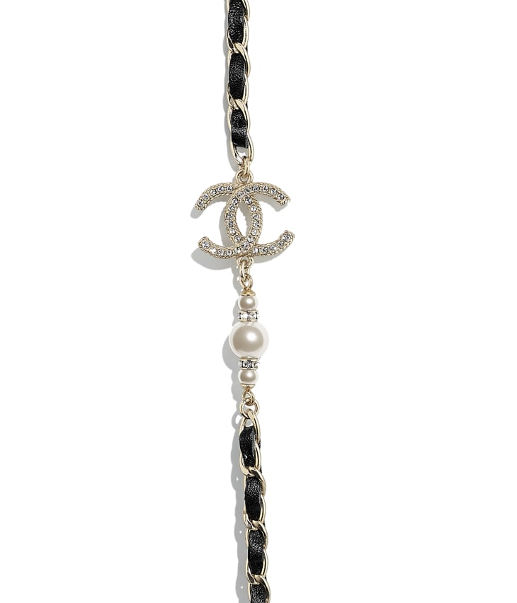 image 3 - Long Necklace - Metal, Calfskin, Glass Pearls & Strass - Gold, Black, Pearly White & Crystal