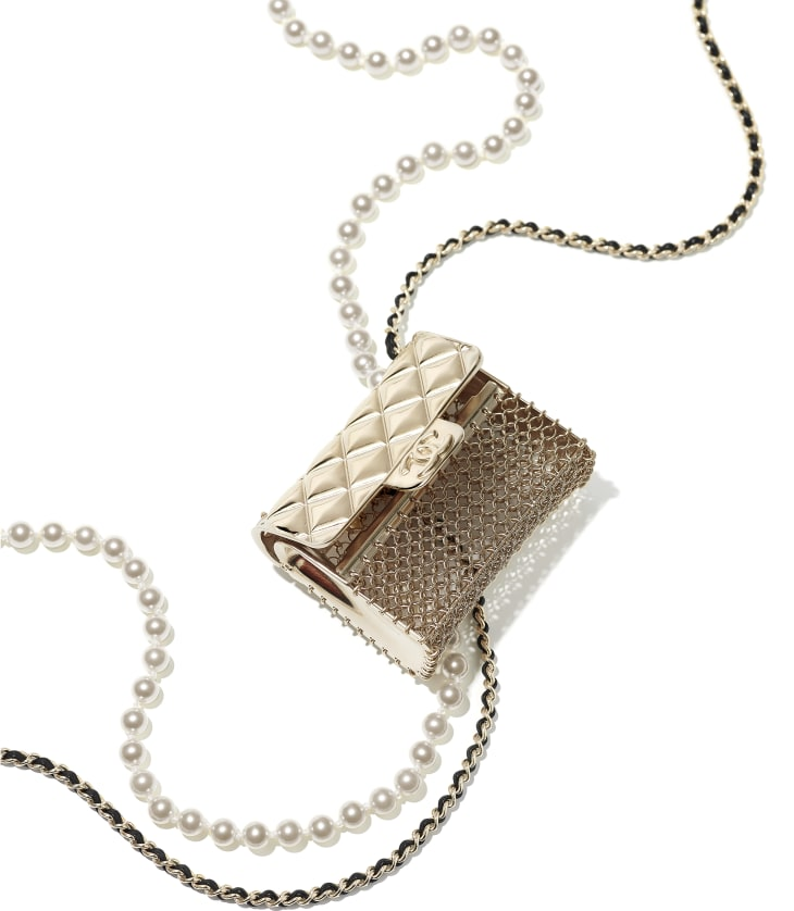 image 2 - Colar Longo - Metal, Couro de cordeiro & Pérolas de Vidro - Dourado, Preto & Branco Perolado