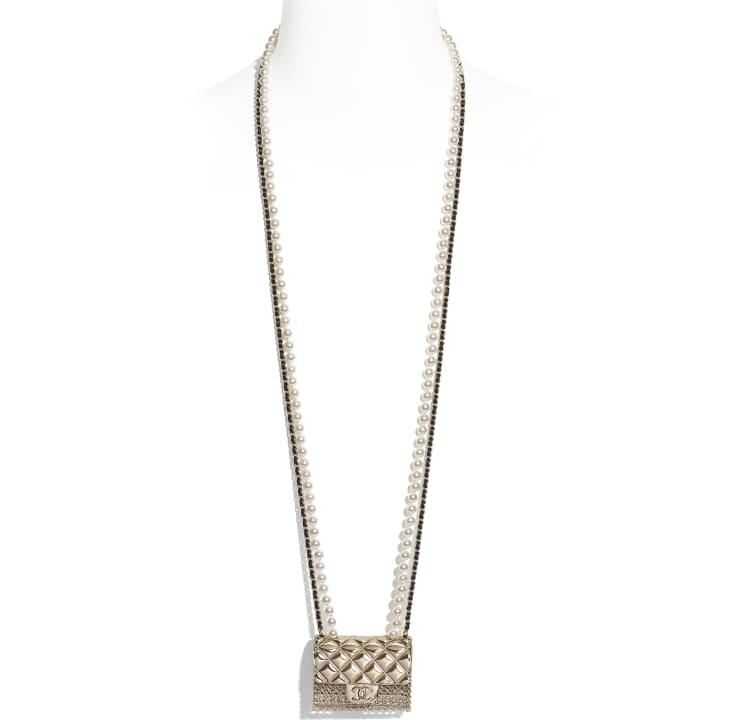 image 1 - Colar Longo - Metal, Couro de cordeiro & Pérolas de Vidro - Dourado, Preto & Branco Perolado