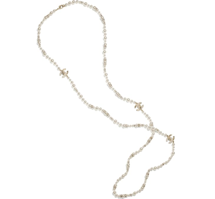 image 1 - Long Necklace - Metal, Strass & Glass Pearls - Gold, Crystal & Pearly White
