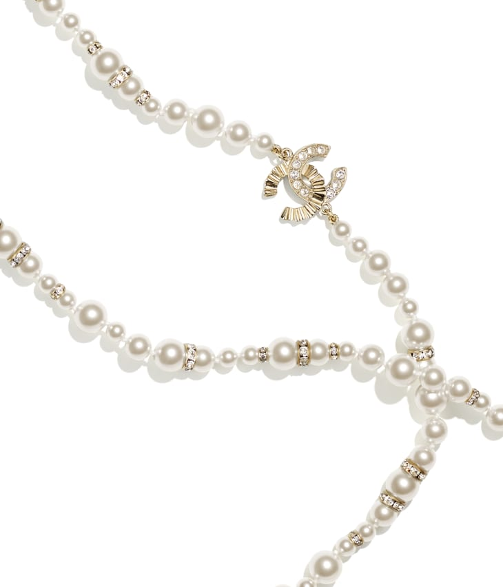 image 3 - Long Necklace - Metal, Strass & Glass Pearls - Gold, Crystal & Pearly White