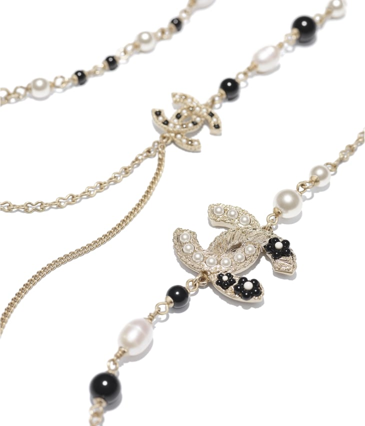 image 2 - Long Necklace - Metal, Cultured Fresh Water Pearls, Glass Pearls & Resin - Gold, Pearly White & Black