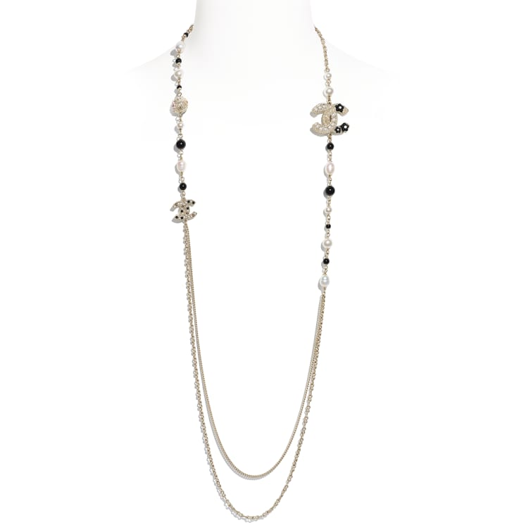 image 1 - Long Necklace - Metal, Cultured Fresh Water Pearls, Glass Pearls & Resin - Gold, Pearly White & Black
