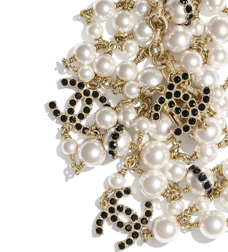 image 2 - Long Necklace - Metal, Glass Pearls, Strass & Resin - Gold, Pearly White, Crystal & Black