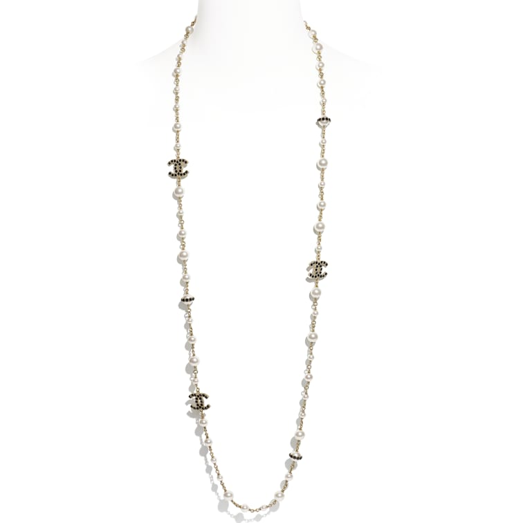 image 1 - Long Necklace - Metal, Glass Pearls, Strass & Resin - Gold, Pearly White, Crystal & Black