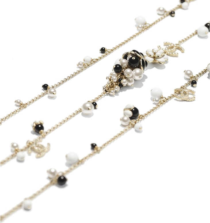 image 2 - Long Necklace - Metal, Glass Pearls, Diamanté & Resin - Gold, Pearly White, Crystal, Black & White
