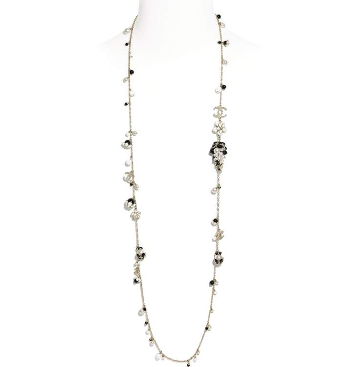 image 1 - Long Necklace - Metal, Glass Pearls, Diamanté & Resin - Gold, Pearly White, Crystal, Black & White