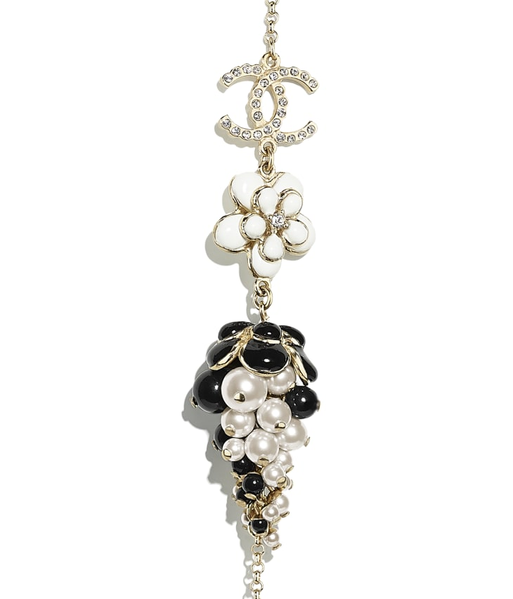 image 3 - Long Necklace - Metal, Glass Pearls, Diamanté & Resin - Gold, Pearly White, Crystal, Black & White