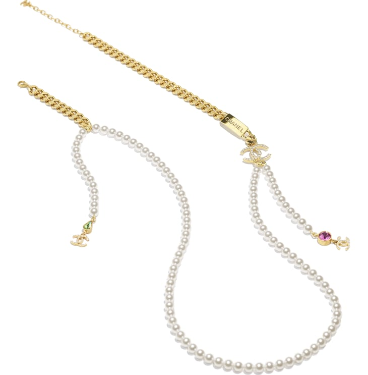 image 2 - Long Necklace - Metal, Glass Pearls & Strass - Gold, Pearly White, Crystal, Green & Pink