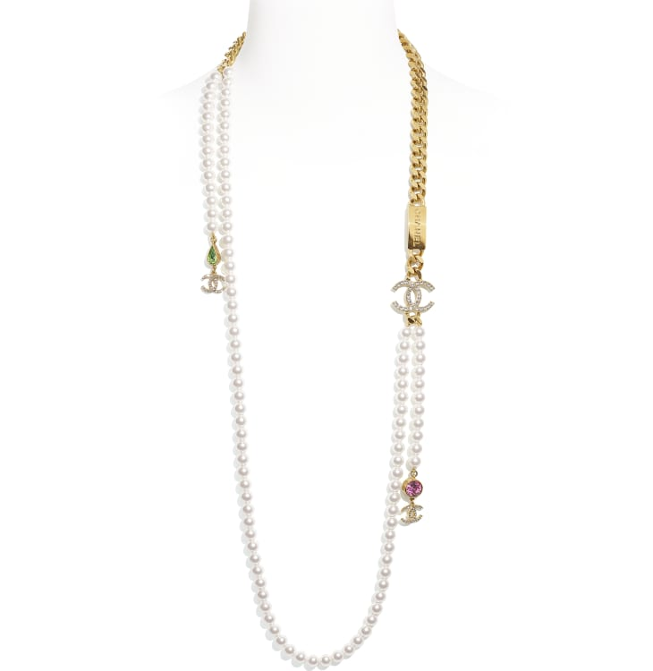 image 1 - Long Necklace - Metal, Glass Pearls & Strass - Gold, Pearly White, Crystal, Green & Pink