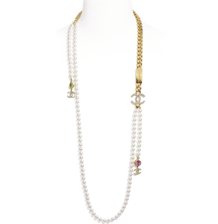 image 1 - Colar Longo - Metal, Pérolas De Vidro & Strass - Dourado, branco perolado, cristal, verde & rosa