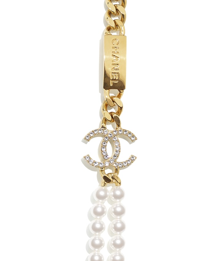 image 3 - Long Necklace - Metal, Glass Pearls & Strass - Gold, Pearly White, Crystal, Green & Pink