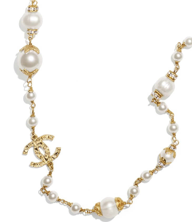 image 3 - Long Necklace - Metal, Glass Pearls, Cultured Fresh Water Pearls & Strass - Gold, Pearly White & Crystal
