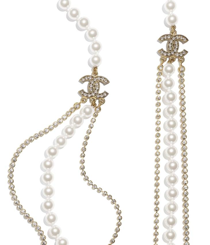 image 2 - Sautoir - Métal, perles de verre & strass - Doré, blanc nacré & cristal