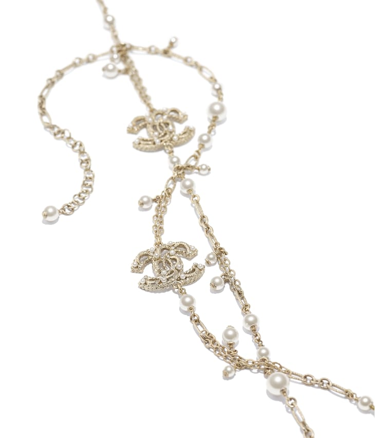 image 2 - Long Necklace - Metal, Glass Pearls & Strass - Gold, Pearly White & Crystal