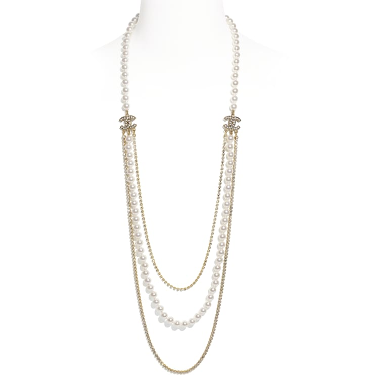 image 1 - Long Necklace - Metal, Glass Pearls & Strass - Gold, Pearly White & Crystal