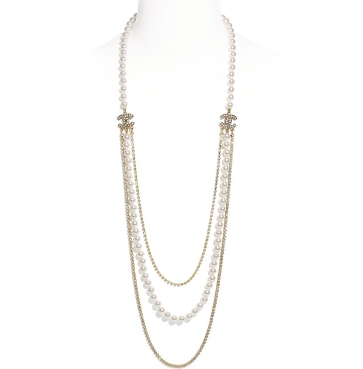 image 1 - Sautoir - Métal, perles de verre & strass - Doré, blanc nacré & cristal