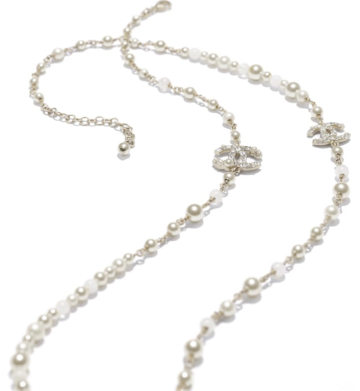 image 2 - Long Necklace - Metal, Natural Stones, Cultured Freshwater Pearls, Glass Pearls & Strass - Gold, Pearly White & Crystal