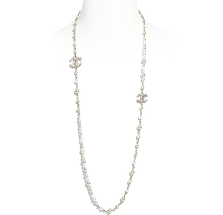 image 1 - Long Necklace - Metal, Natural Stones, Cultured Freshwater Pearls, Glass Pearls & Strass - Gold, Pearly White & Crystal