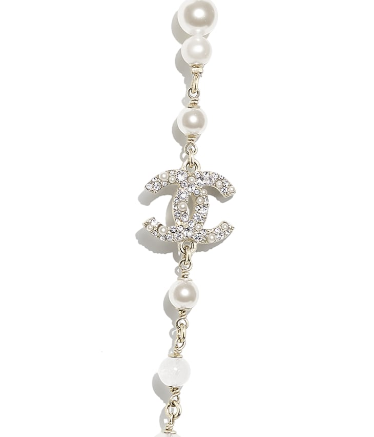 image 3 - Long Necklace - Metal, Natural Stones, Cultured Freshwater Pearls, Glass Pearls & Strass - Gold, Pearly White & Crystal