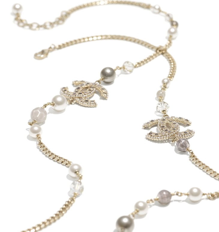 image 2 - Long Necklace - Metal, Glass Pearls, Glass & Strass - Gold, Pearly White, Gray & Crystal